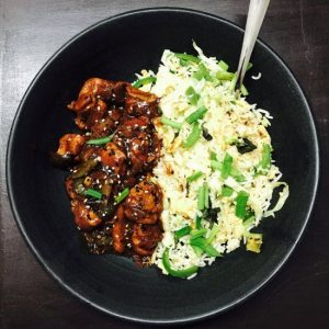 Chicken in Black Bean Sauce with Fried Rice